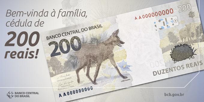 Afiche compartido en las redes sociales del Banco Central de Brasil presentando el formato del nuevo billete de 200 reales.   Fuente externa.