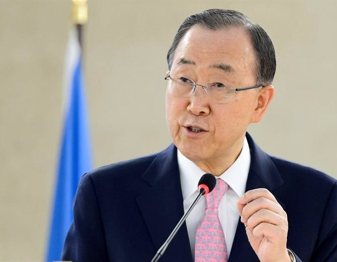 ban ki moon, secretario general de la organización de las naciones unidas.