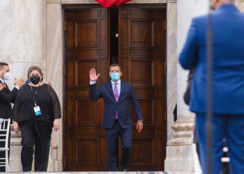 El gobernador de Puerto Rico, Pedro Pierluisi, durante su toma de posesión este sábado. | Fuente externa.