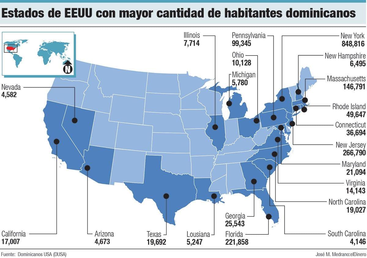 estados de eeuu con mayor cantidad de habitantes dominicanos