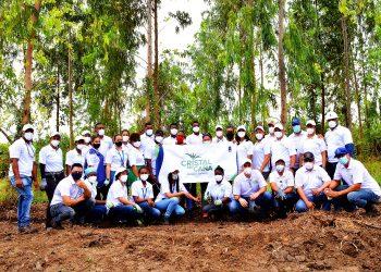 Grupo de voluntarios de Cristal de Caña, entidad dependiente del CAEI, que realizó la plantación de 1,000 árboles.