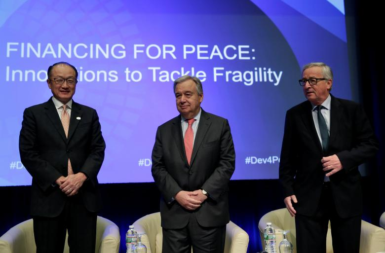 united nations secretary general guterres, world bank president jim yong kim and european commission president juncker attend financing for peace: innovations to tackle fragility session during the imf/world bank spring meetings in washington