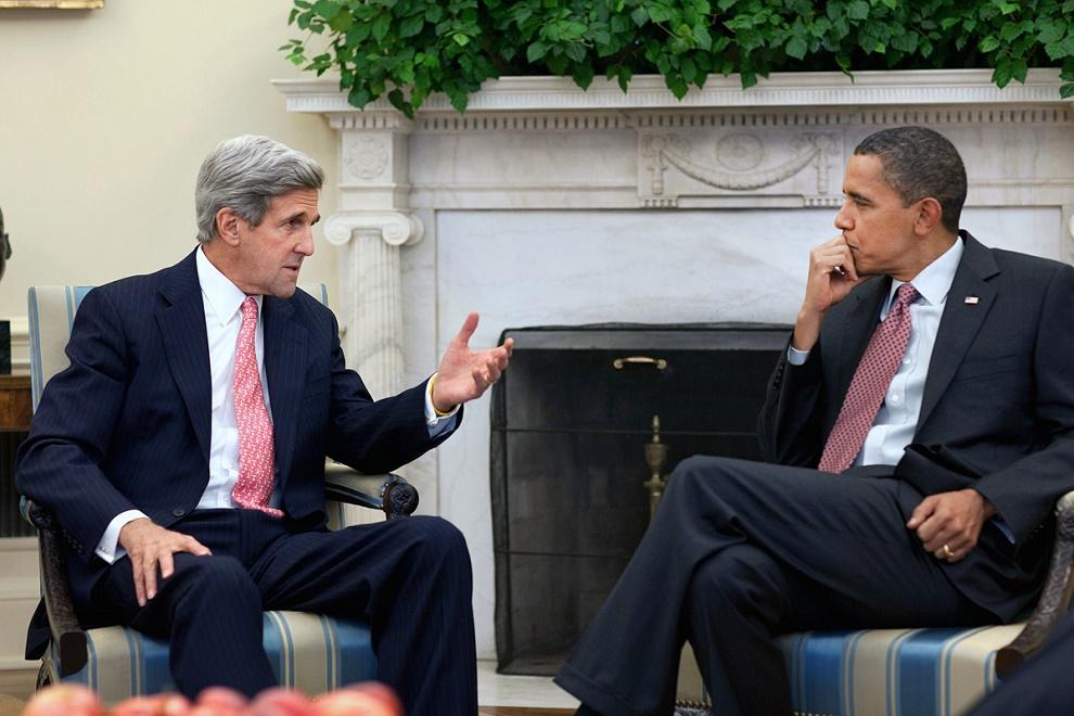 John Kerry y Barack Obama en uno de los encuentros en la Casa Blanca.