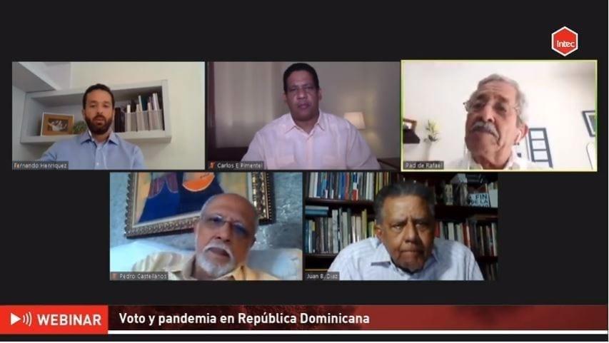 panelistas en el webinar del intec sobre voto y pandemia en república dominicana