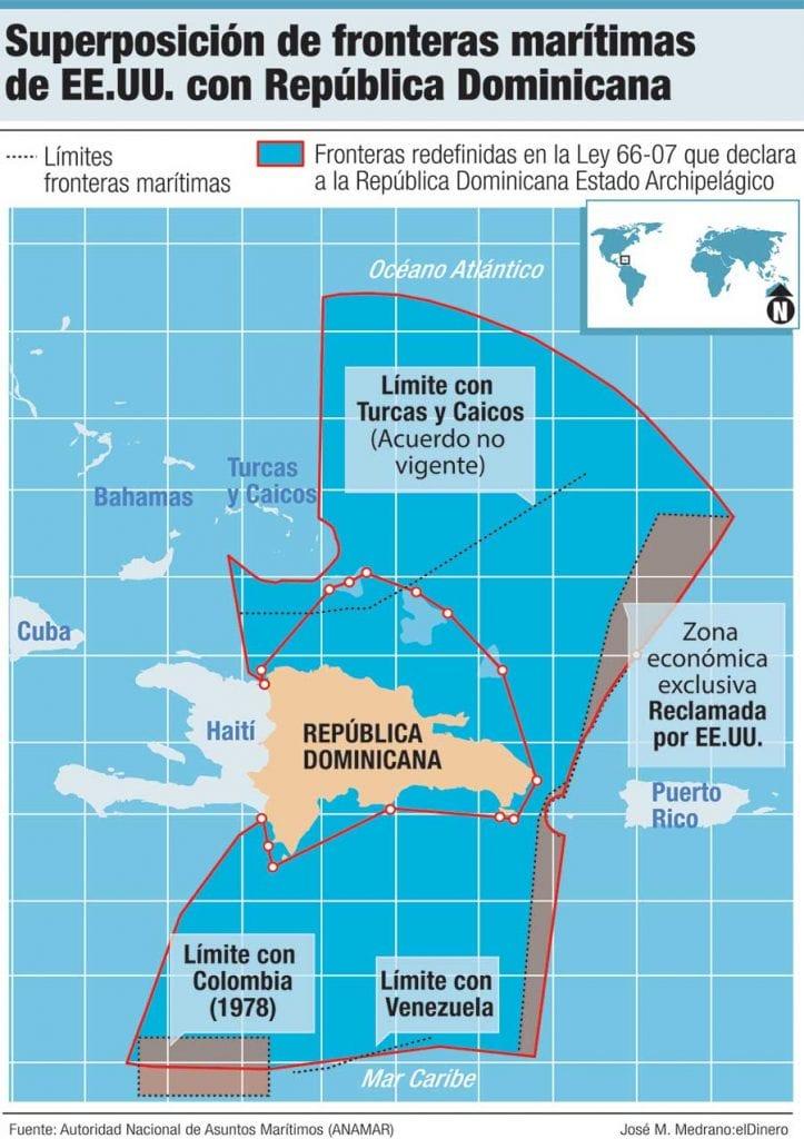 superposicion de fronteras maritimas de eeuu con republica dominicana