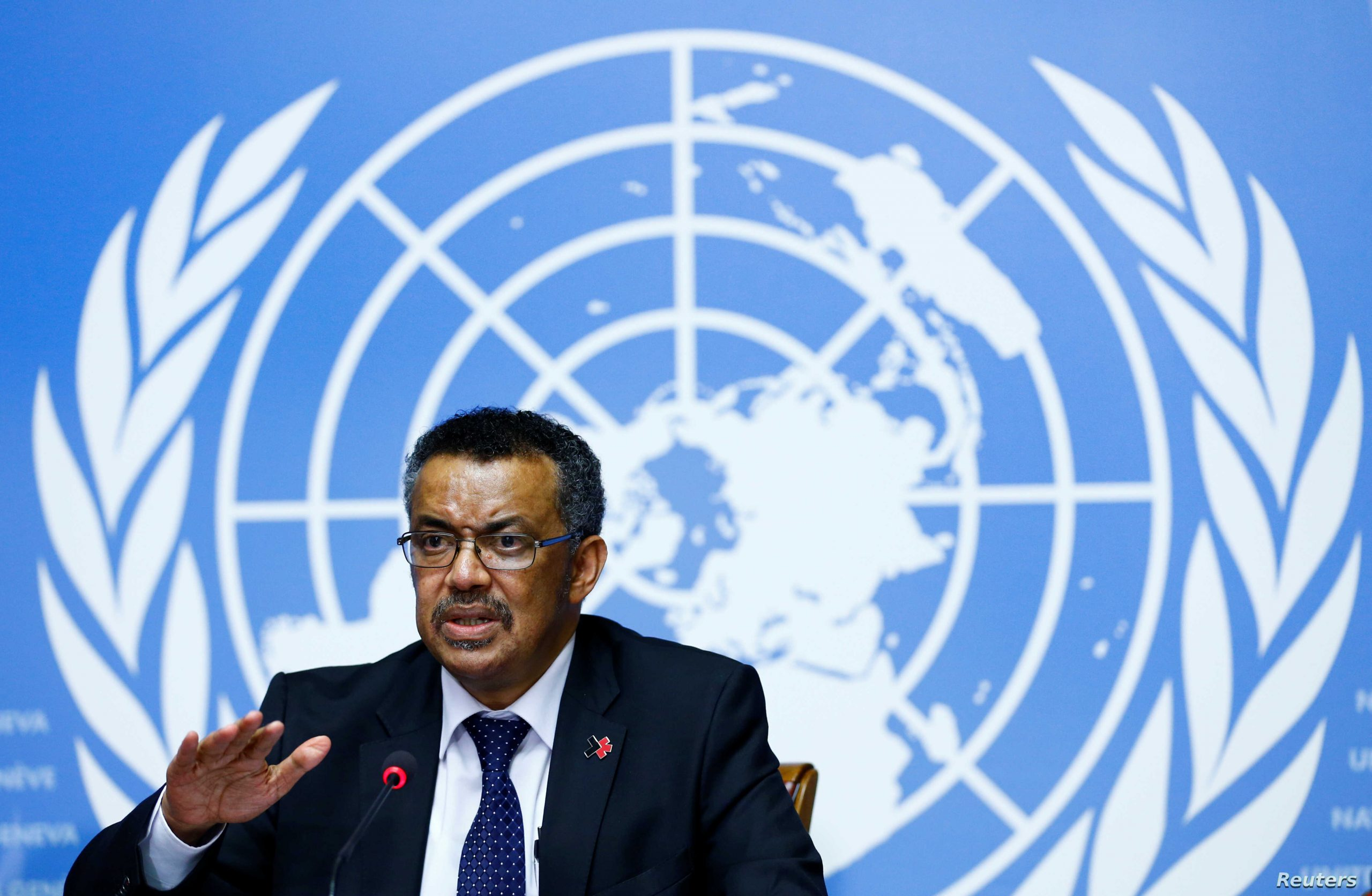 newly elected director general of the who tedros attends a news conference at the united nations in geneva