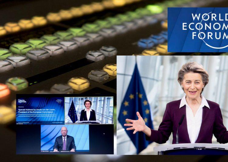 La presidenta de la Comisión Europea, Ursula von der Leyen, durante su participación en el Foro de Davos.   Fuente externa.