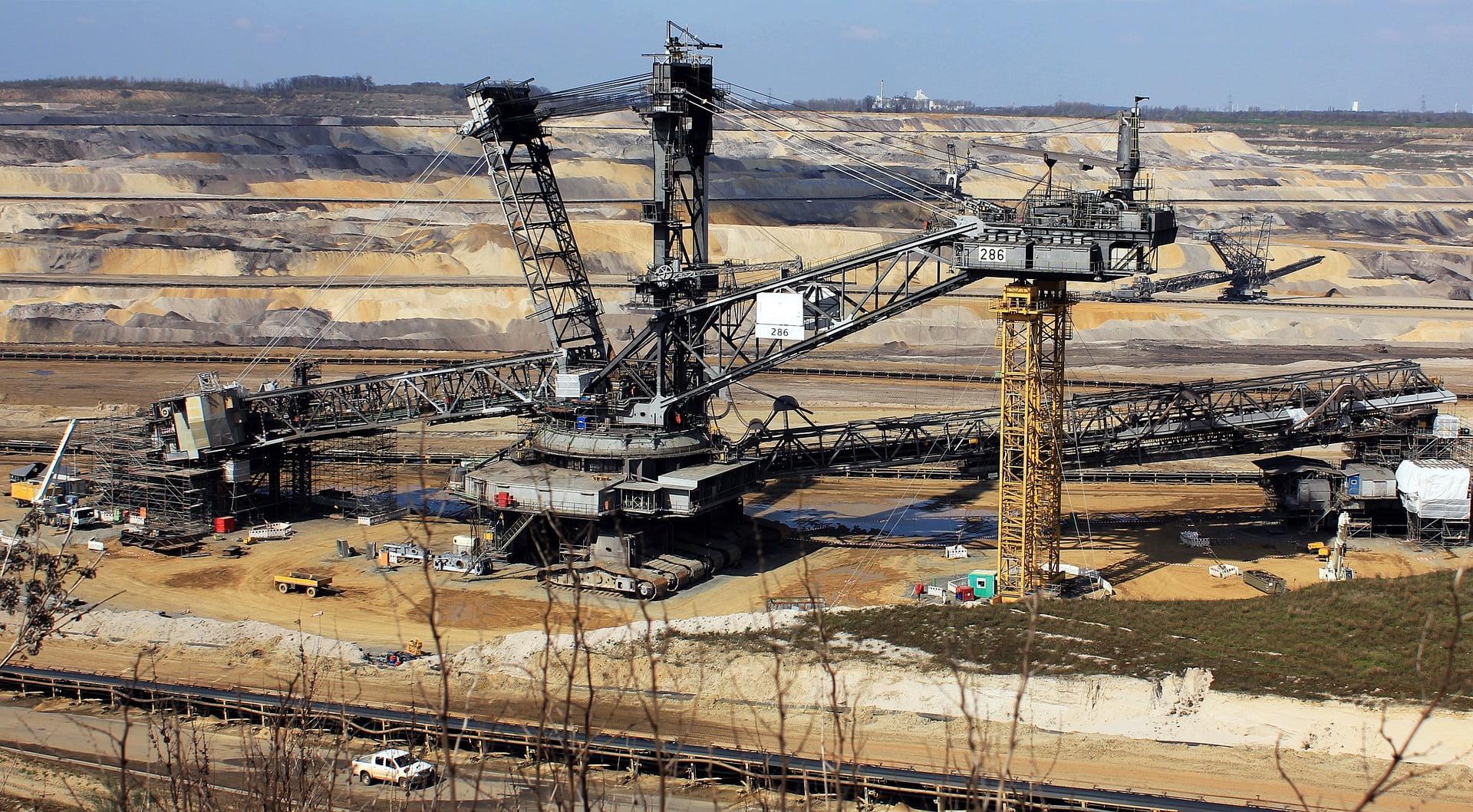 Excavadora, minería, actividad minera
