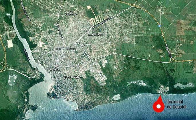 La nueva terminal de gas natural que promueve Antillean Gas LTD estará ubicada en la provincia San Pedro de Macorís, específicamente al lado de la terminal de combustibles de Coastal, en las afueras de la ciudad, en la parte sureste de la demarcación geográfica de la provincia.